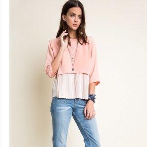 Peach cream box cut pleat top blouse 3/4 sleeves